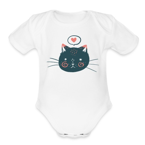 Cat Face by Kelsey King - Organic Short Sleeve Baby Bodysuit