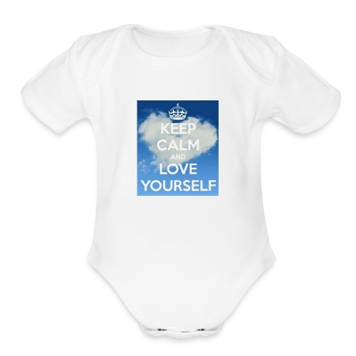 Keep calm and love yourself - Organic Short Sleeve Baby Bodysuit