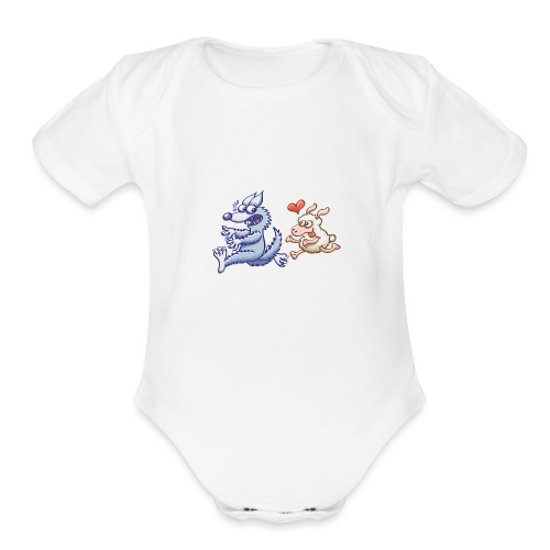 Funny sheep in love running after a terrified wolf - Organic Short Sleeve Baby Bodysuit
