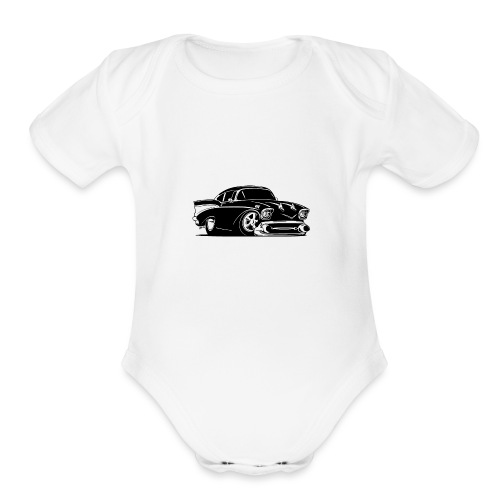 Classic American Hot Rod Car - Organic Short Sleeve Baby Bodysuit