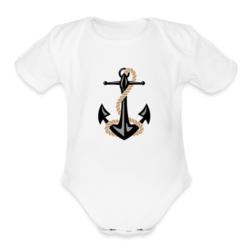 Classic Nautical Anchor and Rope Design - Organic Short Sleeve Baby Bodysuit