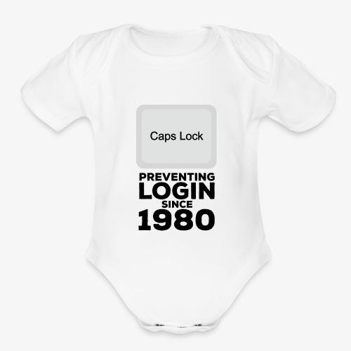 Caps Lock - Organic Short Sleeve Baby Bodysuit