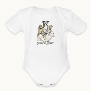 DOGS-SENTIENT BEINGS-white text-Carolyn Sandstrom - Short Sleeve Baby Bodysuit