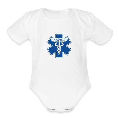 EMT Health Care Caduceus Blue Medical Symbol - Organic Short Sleeve Baby Bodysuit
