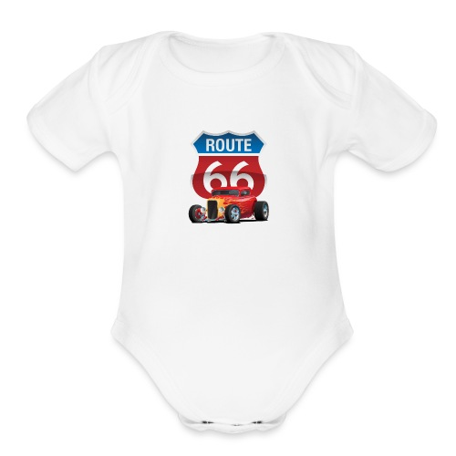 Route 66 Sign with Classic American Red Hotrod - Organic Short Sleeve Baby Bodysuit