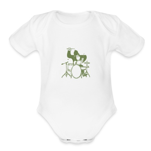 GORILLA PLAYING ON DRUMS - Organic Short Sleeve Baby Bodysuit