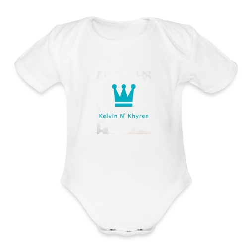 Back Ground Sparks on Blue Classic - Organic Short Sleeve Baby Bodysuit