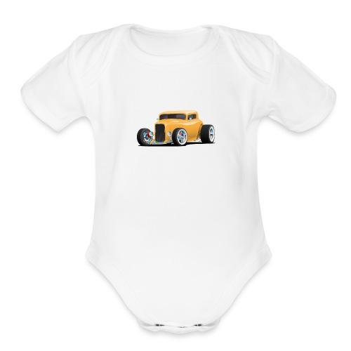 Classic American 32 Hotrod Car Illustration - Organic Short Sleeve Baby Bodysuit