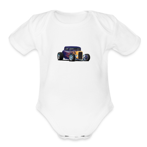 Vintage Hot Rod Car with Classic Flames - Organic Short Sleeve Baby Bodysuit