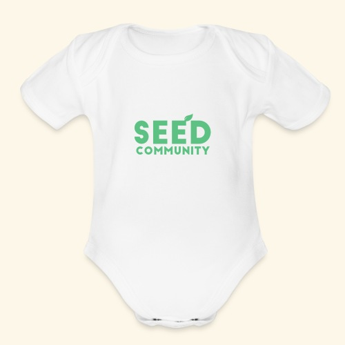 SEED Community Logotype - Green - Organic Short Sleeve Baby Bodysuit
