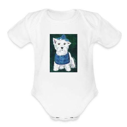 Laddie my Westie a Westie Highland White Terrier - Organic Short Sleeve Baby Bodysuit