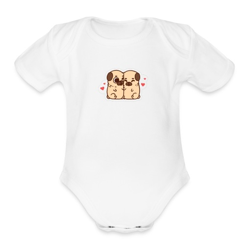 dog love - Organic Short Sleeve Baby Bodysuit