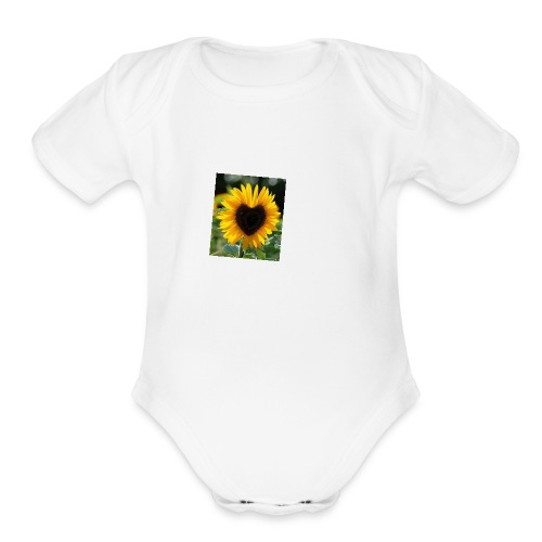 Sunflower of Love - Organic Short Sleeve Baby Bodysuit