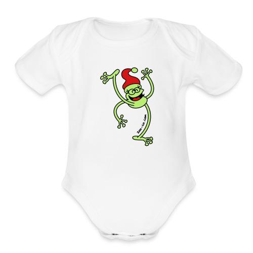 Merry Christmas Frog - Organic Short Sleeve Baby Bodysuit