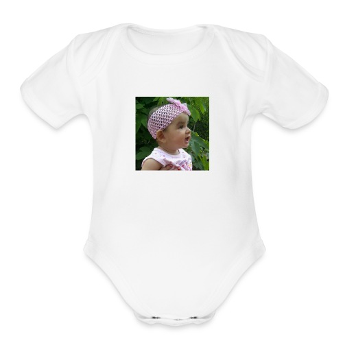 butterfly button - Organic Short Sleeve Baby Bodysuit