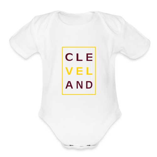 Cleveland Typography - Organic Short Sleeve Baby Bodysuit