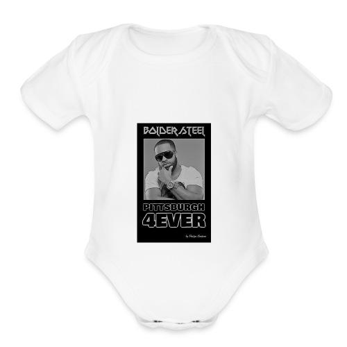 BOLDER STEEL PITTSBURGH 4EVER BLACK WHITE - Organic Short Sleeve Baby Bodysuit
