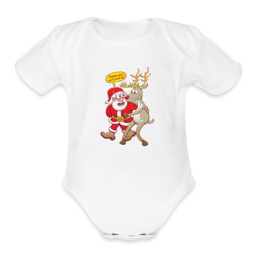Santa Claus deeply thanks his red-nosed reindeer - Organic Short Sleeve Baby Bodysuit