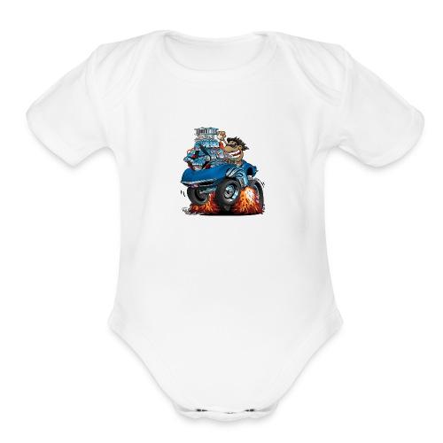 Classic '69 American Sports Car Cartoon - Organic Short Sleeve Baby Bodysuit