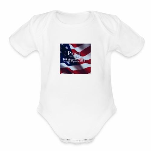 770764ed8cfed391ab7ad85ff8b8f2bb american flag am - Organic Short Sleeve Baby Bodysuit