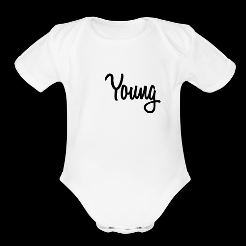 Young Black Logo - Organic Short Sleeve Baby Bodysuit