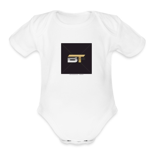 BT logo golden - Organic Short Sleeve Baby Bodysuit