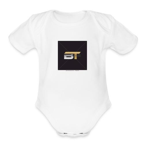 BT logo golden - Organic Short Sleeve Baby Bodysuit