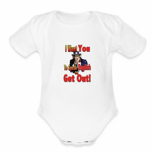 learn to speak english main full - Organic Short Sleeve Baby Bodysuit