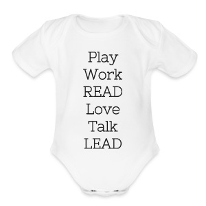 Play_Work_Read - Short Sleeve Baby Bodysuit