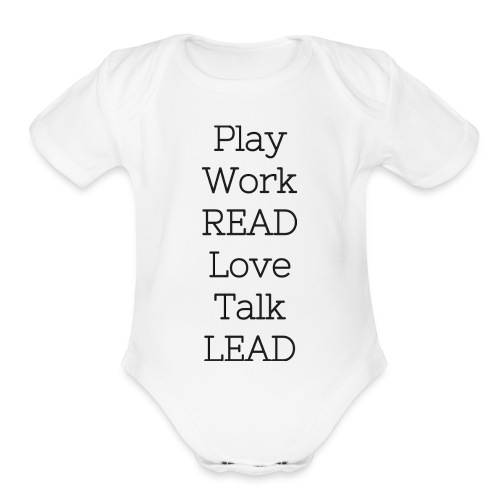 Play_Work_Read - Organic Short Sleeve Baby Bodysuit