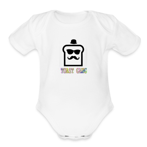 Toast Gang logo - Organic Short Sleeve Baby Bodysuit