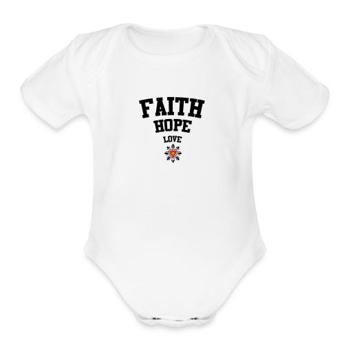 Faith love hope - Organic Short Sleeve Baby Bodysuit