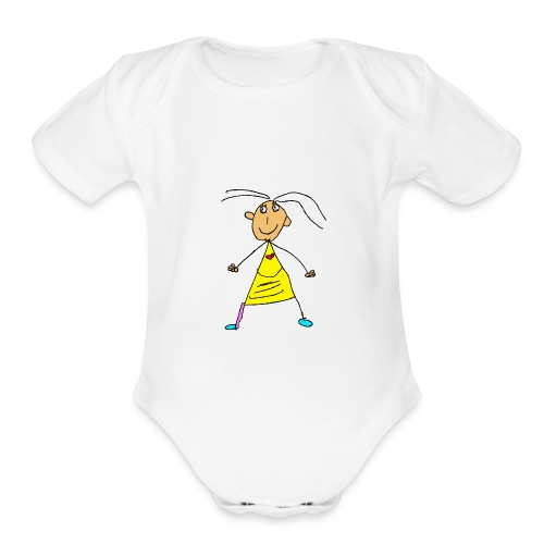 girl with the yellow dress and purple stocking - Organic Short Sleeve Baby Bodysuit