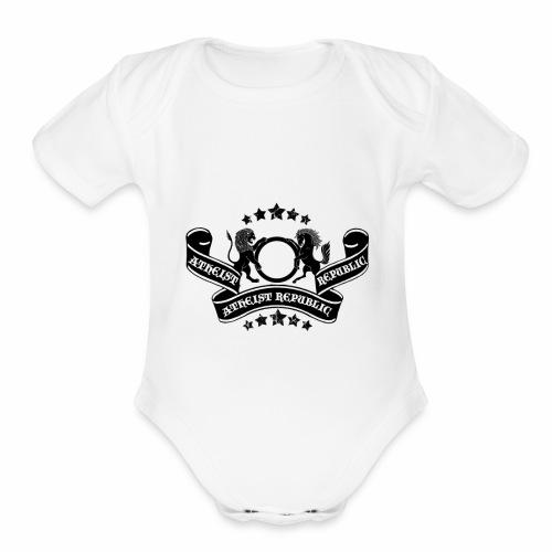 Atheist Republic Logo - Banner & Stars - Organic Short Sleeve Baby Bodysuit