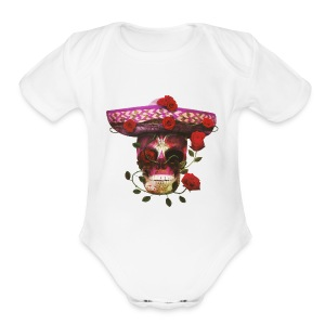 Mexican Skull with roses - Short Sleeve Baby Bodysuit