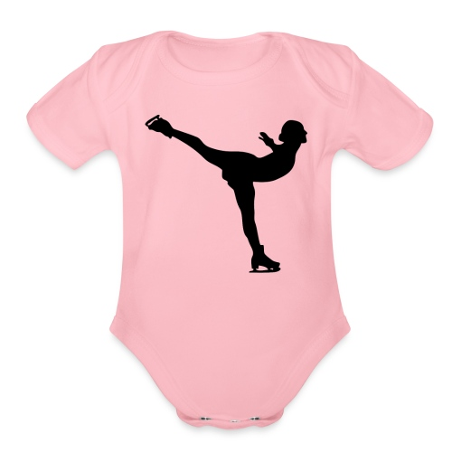 Ice Skating Woman Silhouette - Organic Short Sleeve Baby Bodysuit