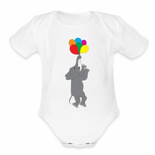 Flying Elephant 01 - Organic Short Sleeve Baby Bodysuit