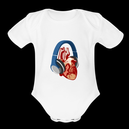 Heartbeats for Music Headphones - Organic Short Sleeve Baby Bodysuit