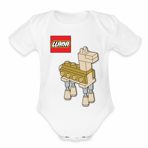 llama - Organic Short Sleeve Baby Bodysuit