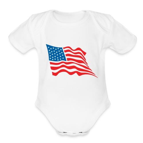 America Flag - Organic Short Sleeve Baby Bodysuit
