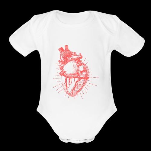 Hand Sketched Heart - Organic Short Sleeve Baby Bodysuit