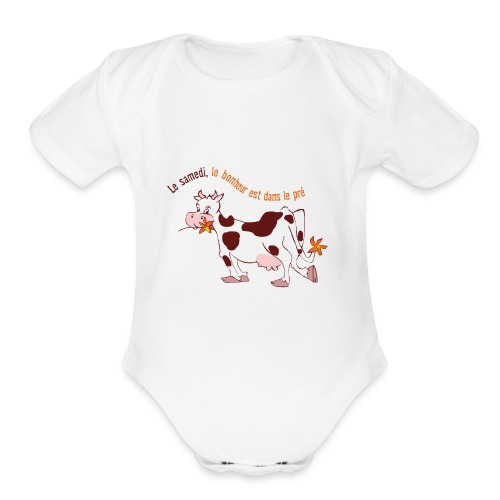 On Saturday hapiness is in the field - Organic Short Sleeve Baby Bodysuit