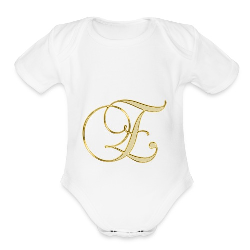 e golden logo - Organic Short Sleeve Baby Bodysuit