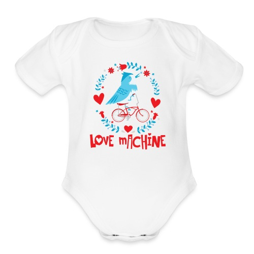 Cute Love Machine Bird - Organic Short Sleeve Baby Bodysuit