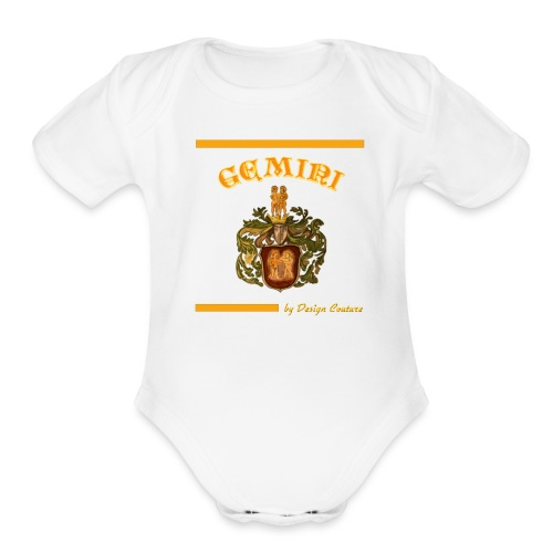 GEMINI ORANGE - Organic Short Sleeve Baby Bodysuit