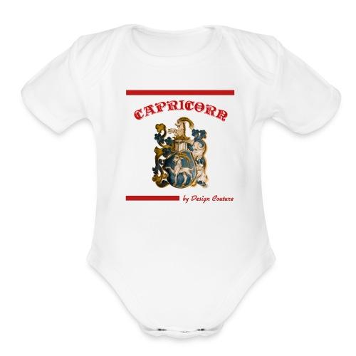 CAPRICORN RED - Organic Short Sleeve Baby Bodysuit