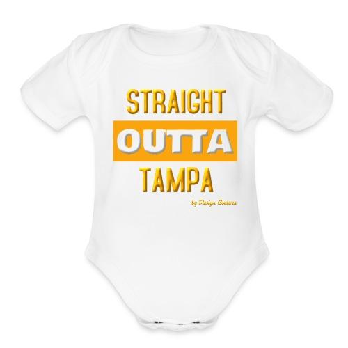 STRAIGHT OUTTA TAMPA ORANGE - Organic Short Sleeve Baby Bodysuit