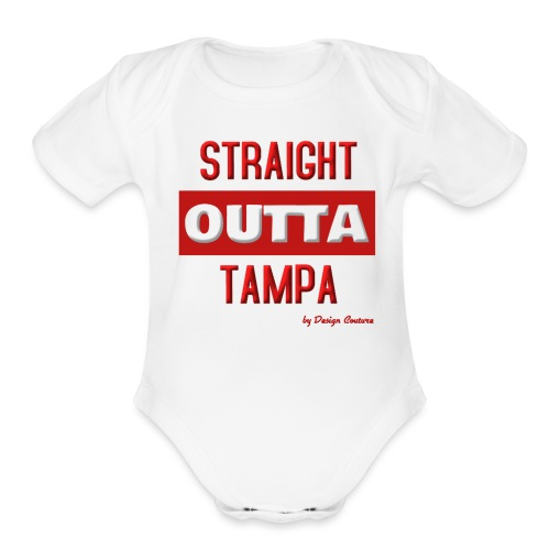 STRAIGHT OUTTA TAMPA RED - Organic Short Sleeve Baby Bodysuit