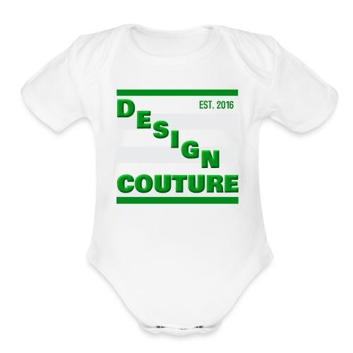 DESIGN COUTURE EST 2016 GREEN - Organic Short Sleeve Baby Bodysuit