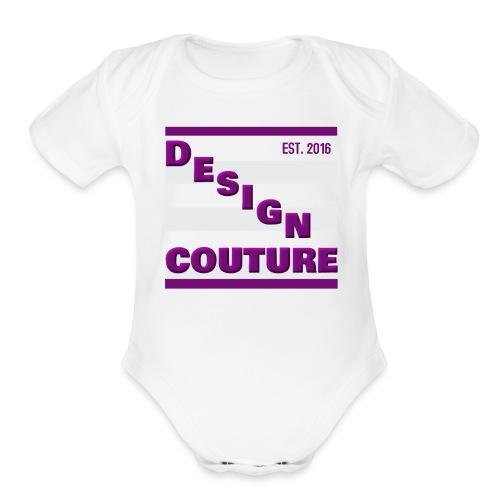DESIGN COUTURE EST 2016 PURPLE - Organic Short Sleeve Baby Bodysuit